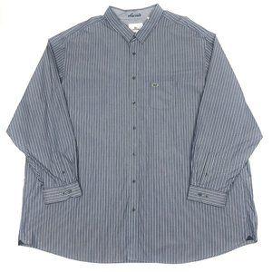 Lacoste 5XLT Navy Blue Striped Button Dress Shirt